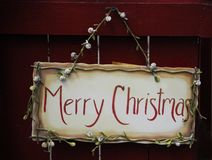 Hand Painted Merry Christmas Sign Royalty Free Stock Photography