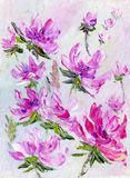 Hand painted modern style purple flowers. Spring flower seasonal nature background. Oil painting floral texture Royalty Free Stock Image