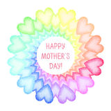Hand painted Mothers Day card. Rainbow spiral of colorful hearts with text. Vector illustration vector illustration