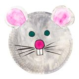 Hand-painted mouse carnival mask for children, on paper plate royalty free stock images