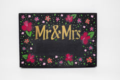 Hand-painted Mr and Mrs chalkboard sign