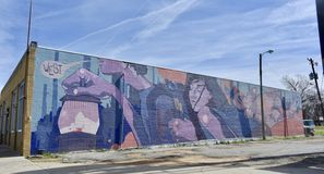 Broad Avenue Arts District Mural, Binghampton Area Memphis, TN. Hand painted mural in the Broad Avenue Arts District in Memphis, TN. Today on Broad Avenue you`re royalty free stock image