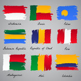 Hand-painted nation flag collection. Set of painted vector flag of different eroupean and asian countries. Vector sketch illustration collection Stock Photos