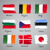 Hand-painted nation flag collection Stock Image