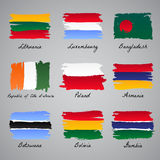 Hand-painted nation flag collection Royalty Free Stock Photography