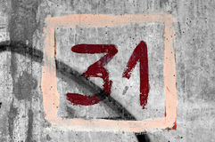 Hand painted number 31 Stock Photography