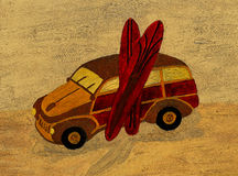 Oil Painting Woody Wagon and Surfboards Royalty Free Stock Images