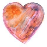Hand painted Orange and Purple Watercolor Heart Royalty Free Stock Photography