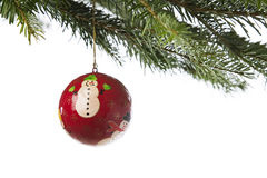 Hand painted ornament hanging from a Xmas tree Stock Photo