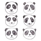 Hand painted panda face watercolor illustration Stock Photos
