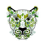 Hand painted Panther front view with colorful ornaments vector illustration. Indian ornament.  Stock Image