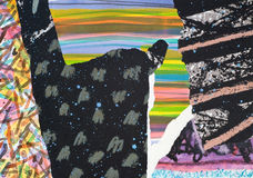 Hand Painted Paper Collage Stock Photos