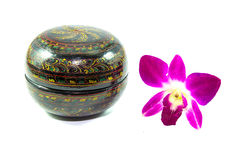 Hand painted paper mache bowl with purple orchid flower isolated Stock Photos