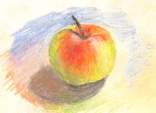 Hand painted pastel apple Stock Photo