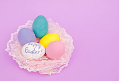 Hand painted pastel colored Easter eggs Royalty Free Stock Image