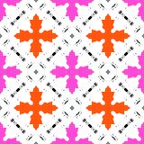 Hand painted pattern with bold ethnic motifs Royalty Free Stock Images