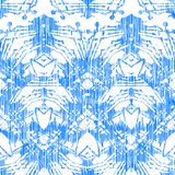 Hand painted pattern with damask and ikat motifs Stock Image