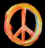 Hand painted peace sign on black Royalty Free Stock Images