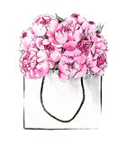 Hand painted peonies in package. Watercolor illustration of hand painted peonies in package Royalty Free Stock Photo