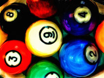 Hand Painted Photograph of Racked Billiard Pool Balls Stock Image
