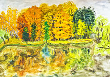 Hand painted picture, autumn landscape Stock Images