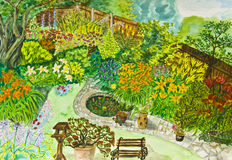 Hand painted picture, garden. Hand painted picture, watercolours - garden landscape with many flowers Royalty Free Stock Photos