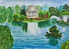 Hand painted picture, house with lake Royalty Free Stock Photo