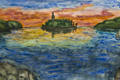 Hand painted picture - island on sunset. Stock Images