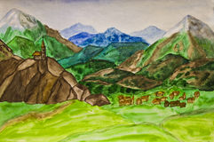 Hand painted picture, Italian landscape Stock Photos