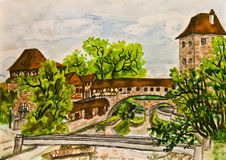 Hand painted picture, Nuremberg Royalty Free Stock Images