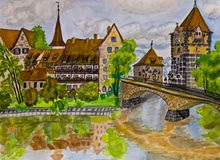 Hand painted picture, Nuremberg Stock Photography