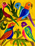 Hand painted picture, parrots Stock Photography