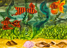 Hand painted picture, red fishes. Hand painted picture, watercolours, red fishes and marine plants in water Royalty Free Stock Photos