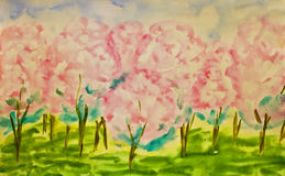 Hand painted picture, spring garden. Hand painted picture, watercolours, pink apple garden in spring in blossom Stock Photos