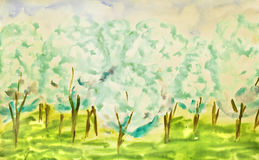 Hand painted picture, spring garden Stock Photo