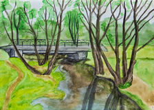 Hand painted picture, spring landscape Royalty Free Stock Image