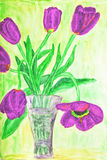 Hand painted picture, tulips in vase Stock Photo