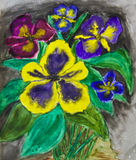Hand painted picture, viola tricolor Royalty Free Stock Photo