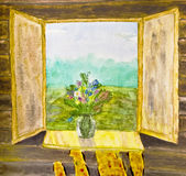 Hand painted picture, watercolours, flowers on window Stock Image