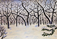 Hand painted picture, watercolours, winter forest. Hand painted picture in watercolours, landscape - winter forest Royalty Free Stock Photos