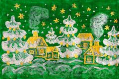 Winter picture, painting. Hand painted picture - winter - Christmas - New year postcard, houses and fir trees on green background, silver and golden gouache royalty free illustration