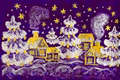 Winter picture, painting. Hand painted picture - winter - Christmas - New year postcard, houses and fir trees on violet background, silver and golden gouache vector illustration
