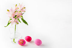 Hand-painted pink Easter eggs Royalty Free Stock Photos