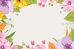 Hand painted pink garden flowers Stock Image