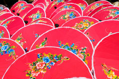 Hand painted pink umbrellas in Thailand Stock Image