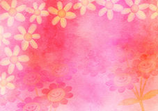 Hand Painted Pink Watercolour Daisy Flower Paper Stock Photo