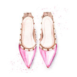 Hand painted pink women`s ballet shoes Royalty Free Stock Photography