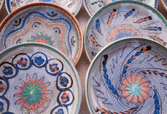 Hand Painted Plates and Tiles Royalty Free Stock Photography