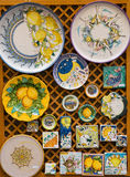 Hand Painted Plates and Tiles. In a market in Sorrento on the Amalfi Coast Stock Images