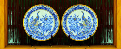 Hand painted porcelain plates Royalty Free Stock Photos